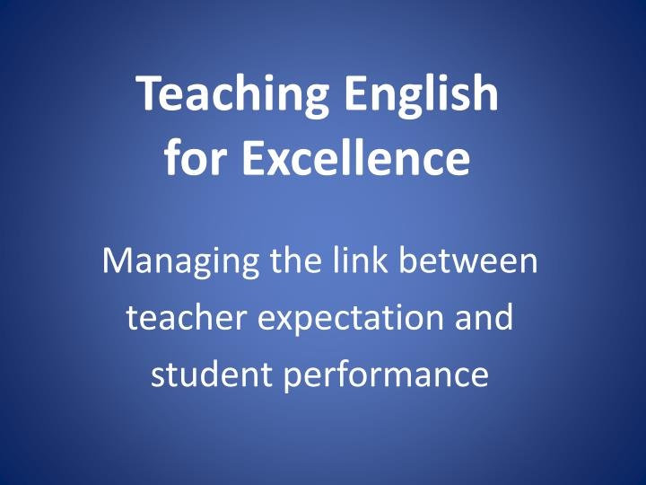 teaching english for excellence n.