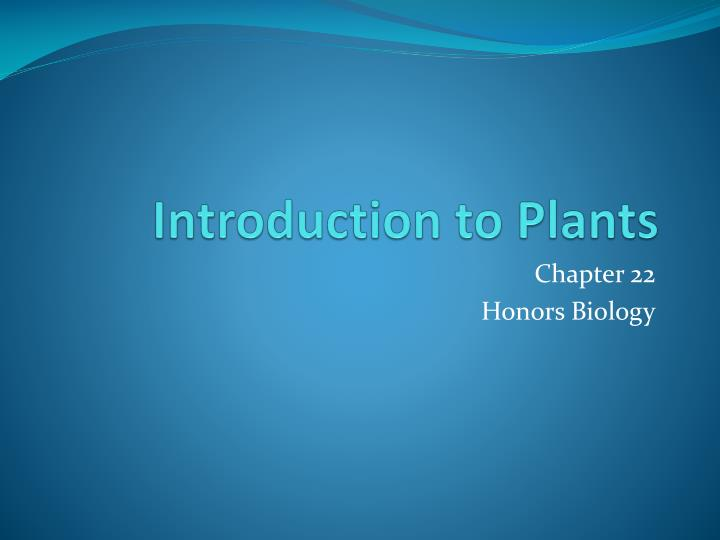 introduction to plants n.