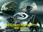 3 000 hours of playtesting 600 testers