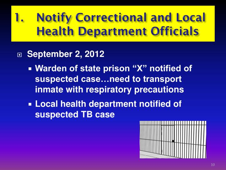 1. Notify Correctional and Local      Health