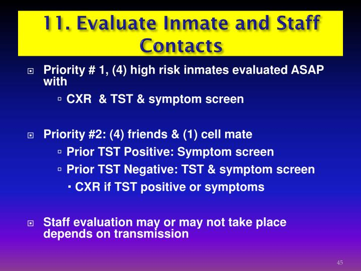 11. Evaluate Inmate and Staff Contacts