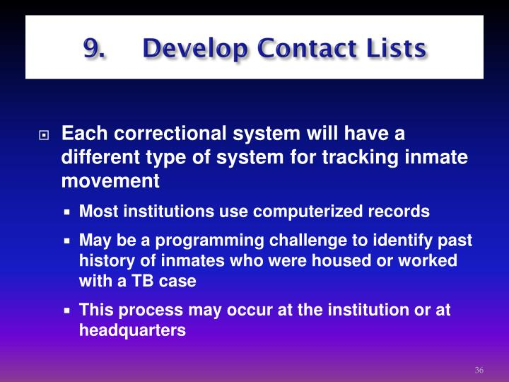 9.  Develop Contact Lists