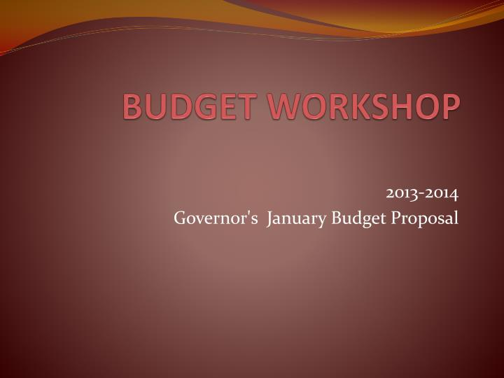 budget workshop n.