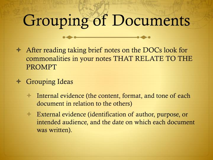 Grouping of Documents