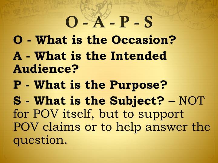 O - A - P - S