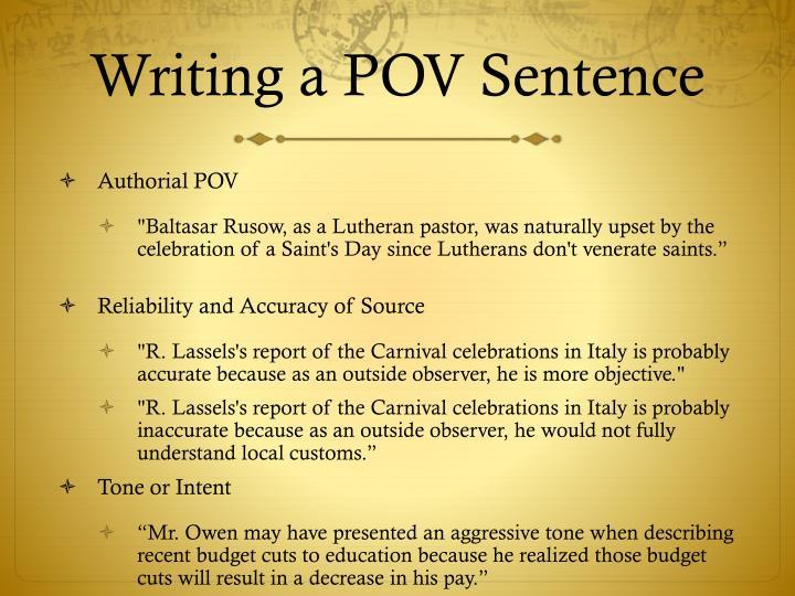 Writing a POV Sentence