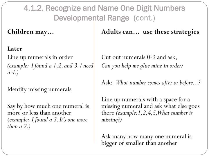 4.1.2. Recognize and Name One Digit Numbers Developmental Range