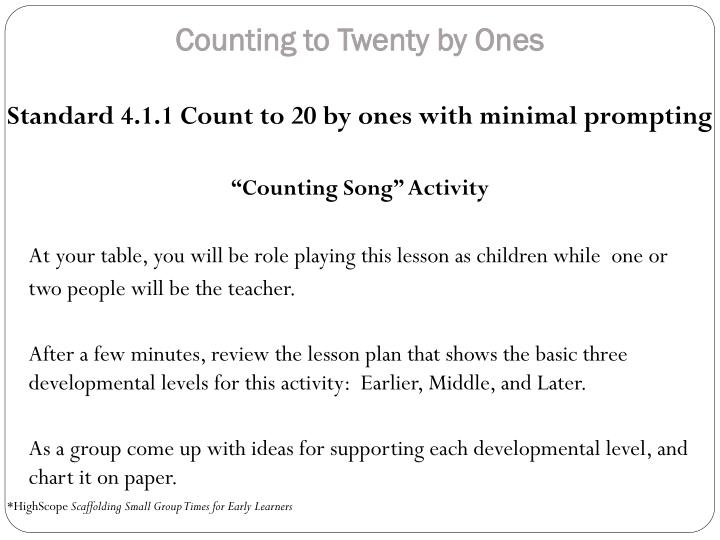 Counting to Twenty by Ones