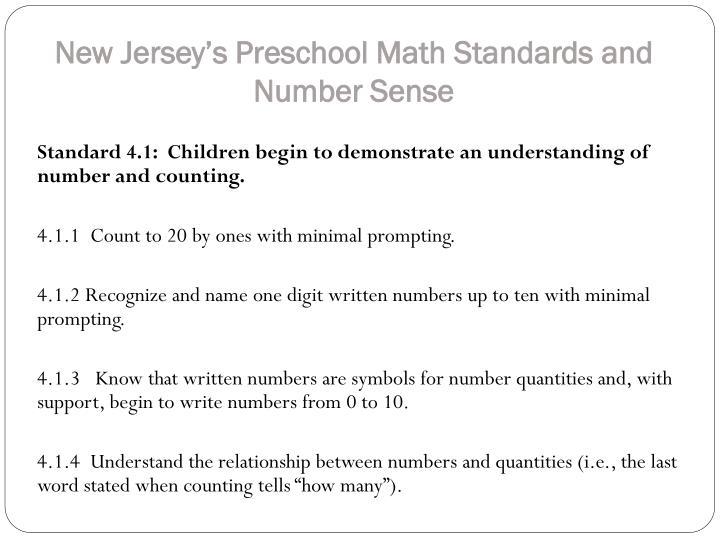 New Jersey's Preschool Math Standards