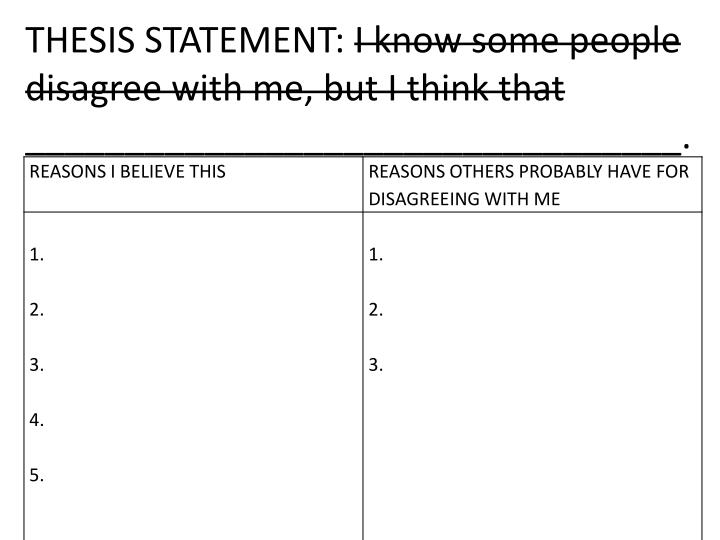 Thesis statement i know some people disagree with me but i think that