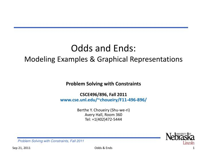 odds and ends modeling examples graphical representations n.