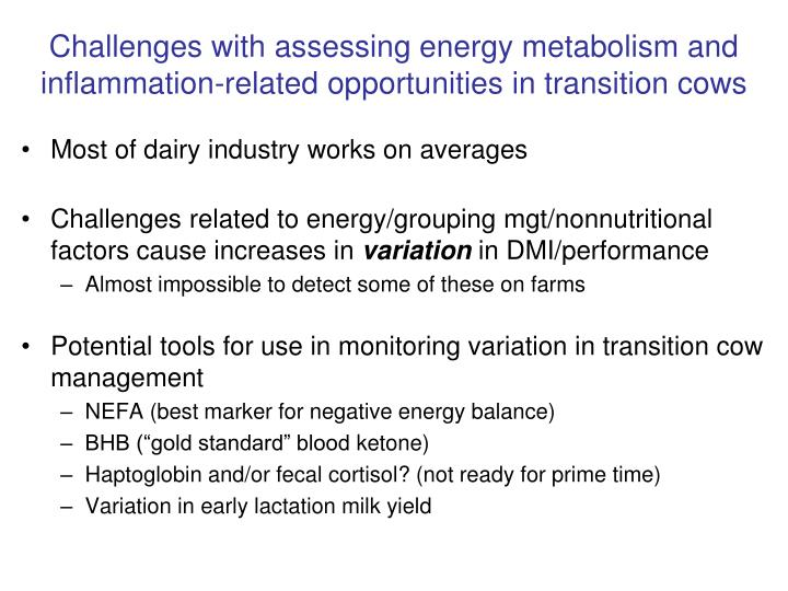 Challenges with assessing energy metabolism and inflammation-related opportunities in transition cows