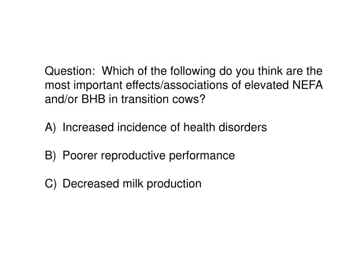 Question:  Which of the following do you think are the most important effects/associations of elevated NEFA and/or BHB in transition cows?