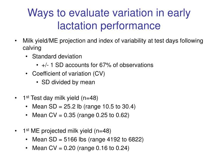 Ways to evaluate variation in early lactation performance
