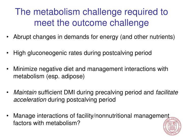 The metabolism challenge required to meet the outcome challenge