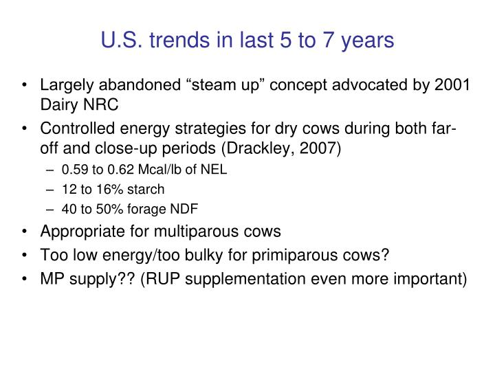 U.S. trends in last 5 to 7 years