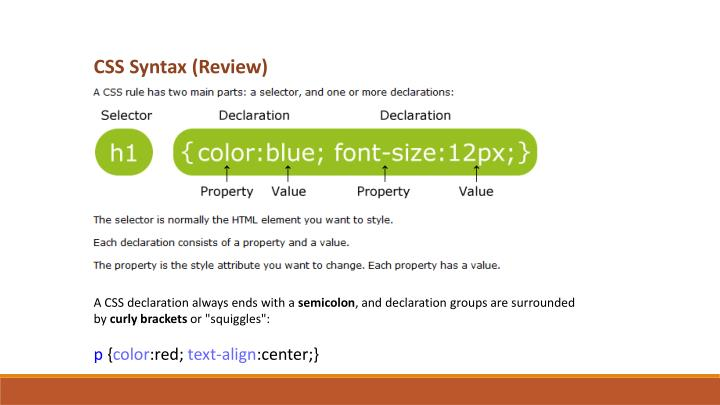 CSS Syntax (Review)