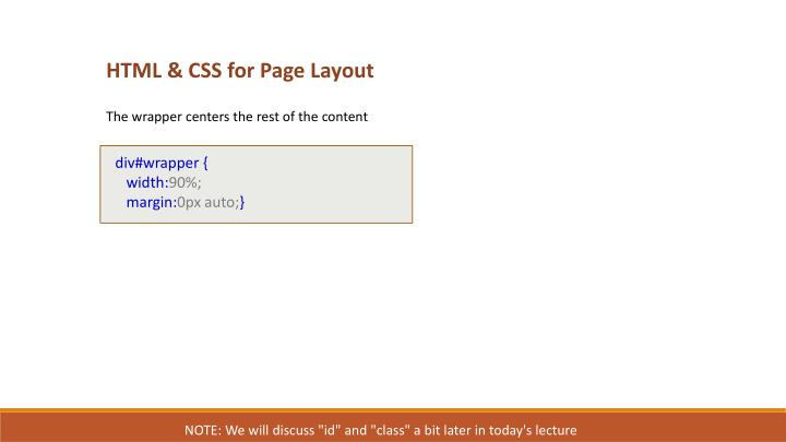 HTML & CSS for Page Layout