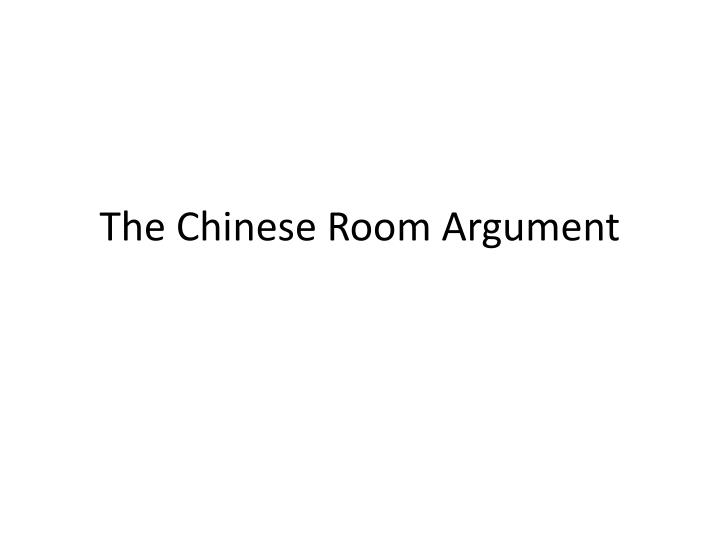 the chinese room argument n.