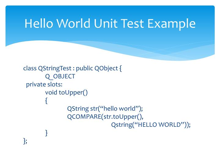 Hello World Unit Test Example