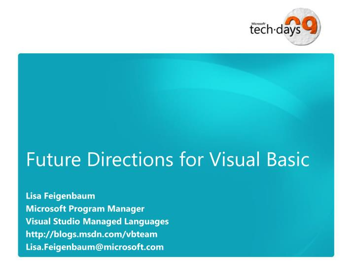 future directions for visual basic n.