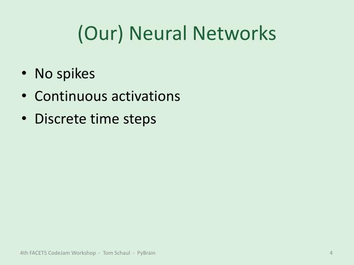 (Our) Neural Networks