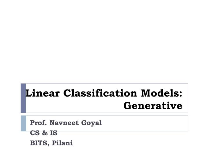 linear classification models generative n.