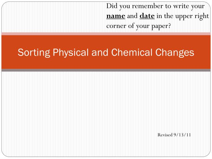 sorting physical and chemical changes n.