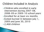 children included in analysis
