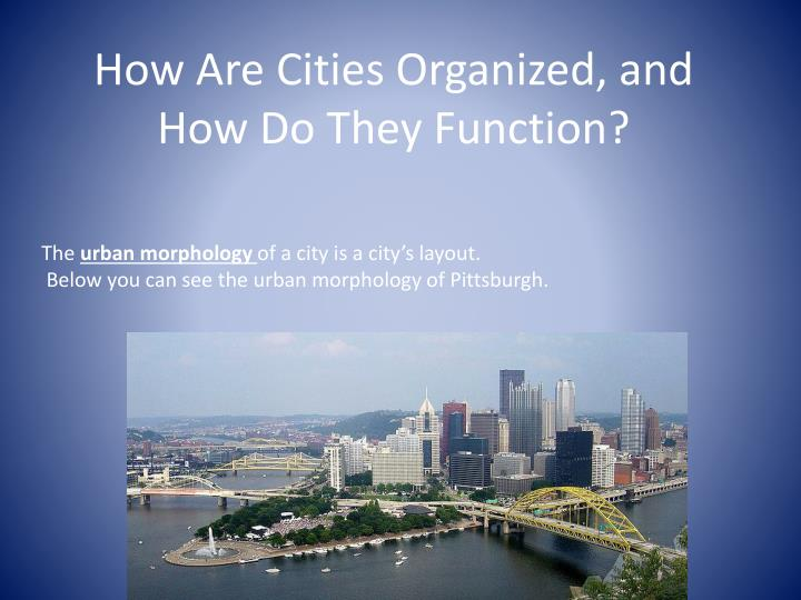 How are cities organized and how do they function
