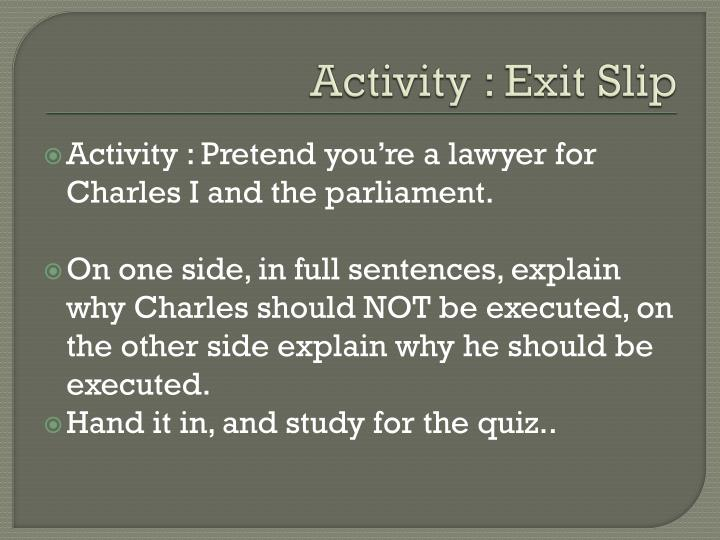 Activity : Exit Sli