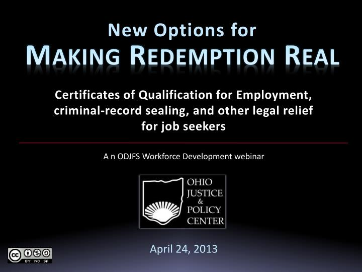 new options for making redemption real n.