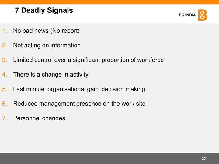 7 Deadly Signals