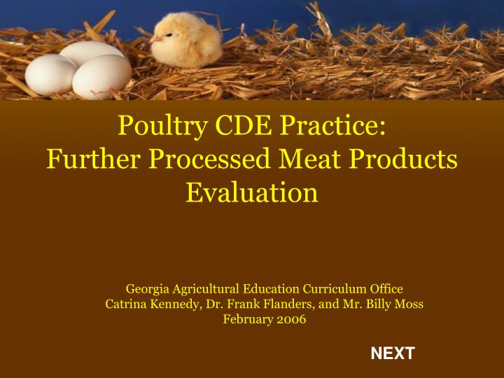 poultry cde practice further processed meat products evaluation n.