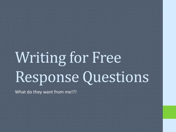 writing for free response questions n.