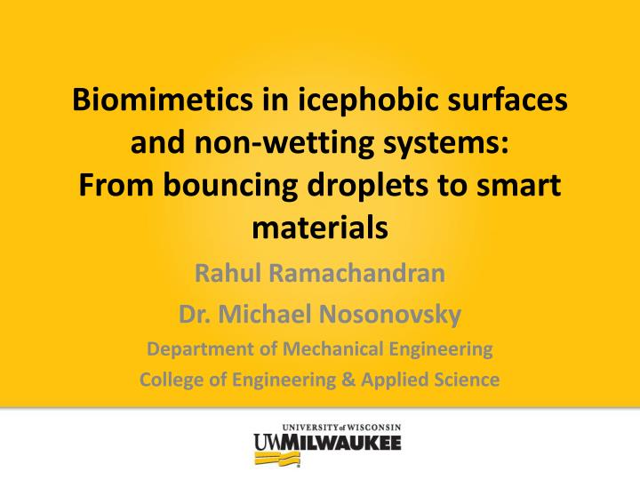 biomimetics in icephobic surfaces and non wetting systems from bouncing droplets to smart materials n.