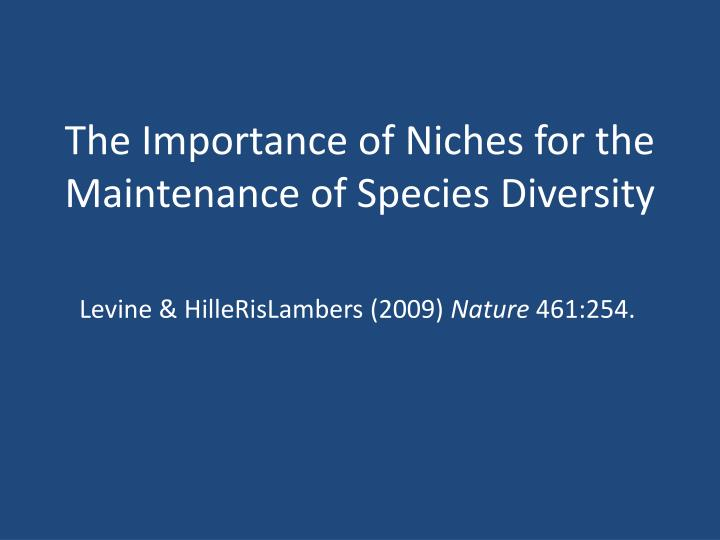 the importance of niches for the maintenance of species diversity n.