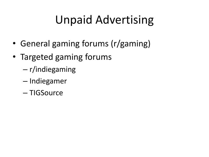 Unpaid Advertising