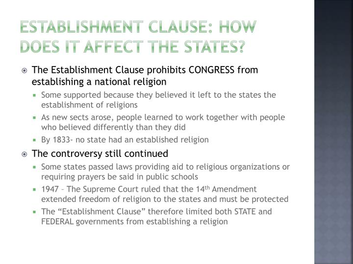 analysis of free exercise clause and establishment clause essay 71 town of greece v galloway: the establishment clause and the rediscovery of history eric rassbach the thesis of this essay is that town of greece vgalloway marks a major inflection point in the development of the law of the establish .