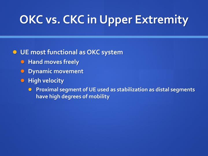 okc versus ckc dissertations Theses were searched on the index to theses database relevant researchers in   exercise regime three were additional open kinetic chain (okc) hip exercises  three studies  including unilateral ckc exercise and four, squats all studies.