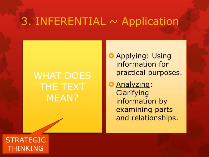 3. INFERENTIAL ~ Application
