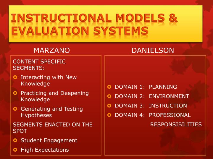 Instructional Models & Evaluation Systems