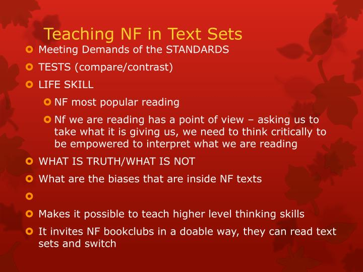 Teaching NF in Text Sets