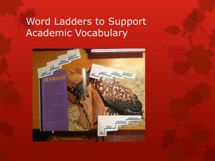 Word Ladders to Support Academic Vocabulary