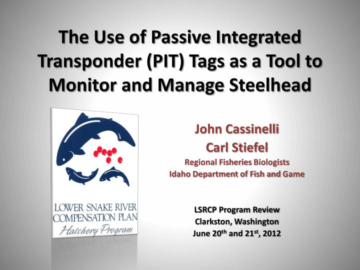 the use of passive integrated transponder pit tags as a tool to monitor and manage steelhead n.