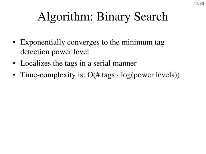 Algorithm: Binary Search