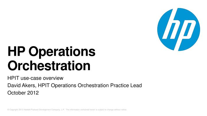 hp operations orchestration n.