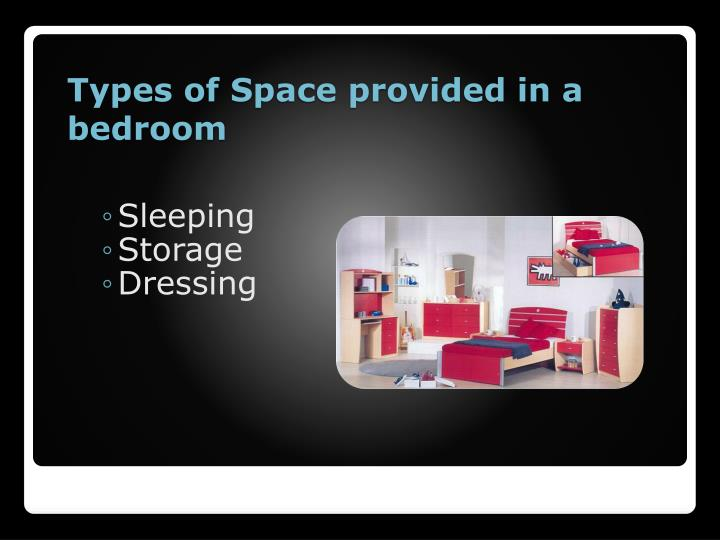 Types of Space provided in a bedroom