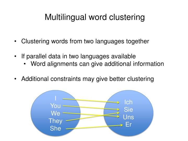 Multilingual word clustering
