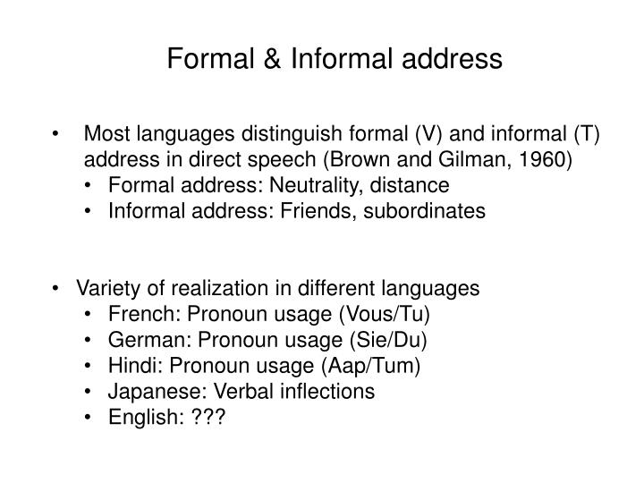 Formal & Informal address